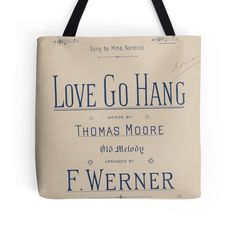 'Love Go Hang' Tote Bag by Ioan Rosca Nastasescu Large Bags, Small Bags, Cotton Tote Bags, Reusable Tote Bags, Medium Bags, Are You The One, Love, Stuff To Buy, Amor