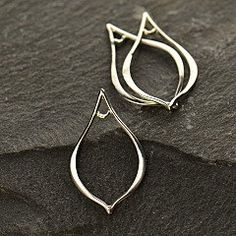 Sterling Silver Tiny Teardrop Infinity Link Pointed  - Pendant - Circle Connectors, Figure Eight Link, Earring Link
