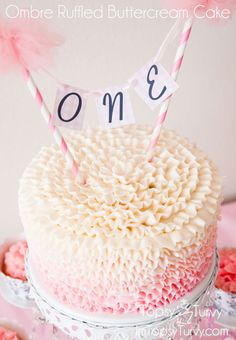 Ombre Ruffled Buttercream Cake #cake #smashcake #buttercream #ruffles #birthdaycake #cakesmash