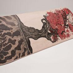 Skateboard deck designed by Mike Lawrence - pen and ink