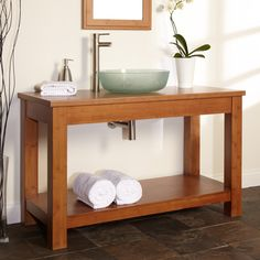 60 Quot Kirin Bamboo Double Vessel Sink Console Vanity With