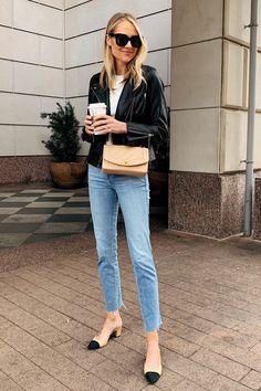 Fashion Jackson Wearing Black Leather Jacket White Top Raw Hem Jeans Chanel Slingbacks Chanel Tan Handbag