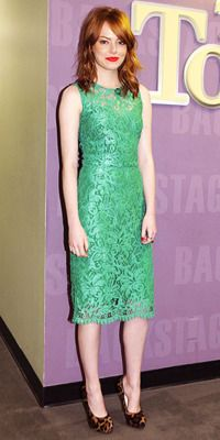 tallgirltales: Party Dress du Jour: Emma Stone in Dolce & Gabbana at the Tonight Show with Jay Leno. Three things I love all in one look: green + lace + leopard print. P.S. For anyone interested in spending a month's rent on a dress…you can buy this lovely Dolce & Gabbana dress here.