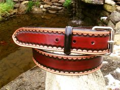 Hand decorated Leather Belt