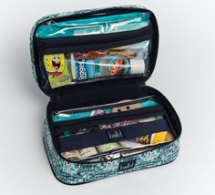 DIY...The frequent traveler was tired of corralling first-aid supplies, toiletries, wipes, baby sunscreen, and other kid essentials for each trip. So she created pre-packed Dopp kits in vibrant patterns, stuffed with everything a little needs when going by plane, train, or automobile.