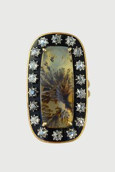 Antique Georgian Moss Agate Ring with Cushion Cut Diamonds, Georgian, English c.1780-1790, $4,500.00