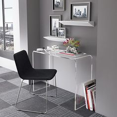 peekaboo clear console in office furniture | CB2   Floor tiles and Lucite desk.....