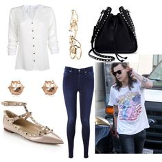 Shopping com Harry! by lisa-ferreira98 on Polyvore featuring polyvore, 7 For All Mankind, Valentino, River Island, GUESS, Branca, fashion, style and clothing