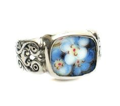 Size 10 Broken China Jewelry Blue Forget Me Not Flowers AC Sterling Carved Ring - Vintage Belle Broken China Jewelry
