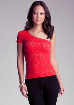 One Shoulder Double Lace Top from bebe on shop.CatalogSpree.com, your personal digital mall.