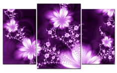 Large Purple Wall Art | ... CANVAS PRINT FLOWER FLY PURPLE MODERN ART 3 parts FRAMED Huge Wall Art