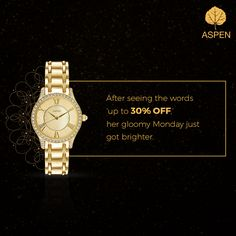 Shake off the Monday blues by gifting yourself an Aspen watch. Shop here: http://amzn.to/1SCrV1h #aspen #offer #watch #discount #style #monday #sale
