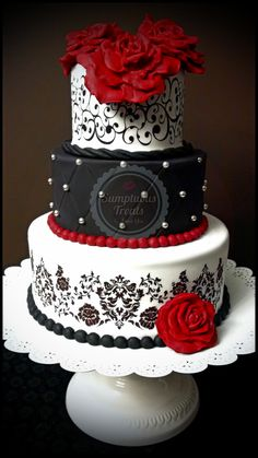 Black, White & Red Wedding Cake ~ Custom-Made-To-Order Cakes & Desserts Edible Art ~ www.sumptuoustreats.com