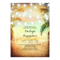 "Sunset Beach & String Lights Bridal Shower 5"" X 7"" Invitation Card"