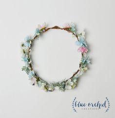 Boho Wedding Crown Pastel Flower Crown Silk by blueorchidcreations
