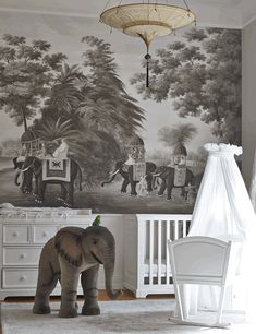 nursery with elephant wallpaper // de Gournay // Simplified Bee