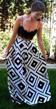 Mini crop top and high waisted maxi