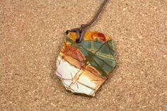 Red Creek Jasper Tablet Pendant Red Yellow White and by ABOSBeads