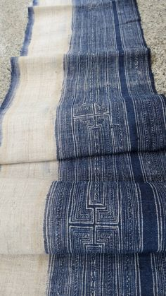 Handwoven hemp Vintage fabric Indigo Hmong Hemp,Table runner- from Thailand