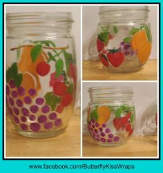 Hand Painted Fruit Motif Mason Jars Candle by ButterflyKisCreation