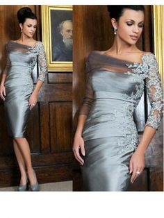 Elegant Silver Knee-length Sheath Mother of the Bride Dresses Off-shoulder Lace Long Sleeves Short Evening Gowns New Gowns Vestidos madre del novio (Visited 1 times, 1 visits today) Mother Of The Bride Gown, Mother Of Groom Dresses, Bride Groom Dress, Mothers Dresses, Bride Gowns, Mother Bride, Mob Dresses, Tea Length Dresses, Plus Size Dresses