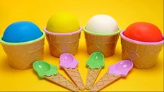 English Color Learning - Play-Doh Ice Cream Cups with Surprise Toys for ...
