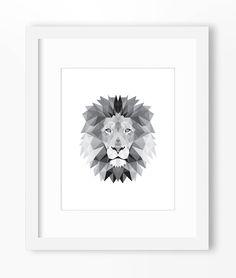 Lion Print Lion Art Lion Wall Art Geometric Lion Print by Abodica