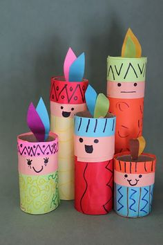 Índios feitos com cones de papel - Pra Gente Miúda
