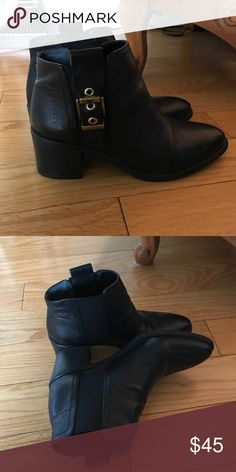 Franco sarto black booties. Worn twice. Leather. Size 6.5. Worn twice! Gorgeous bootie. Love them!!!!!!!! Franco Sarto Shoes Ankle Boots & Booties