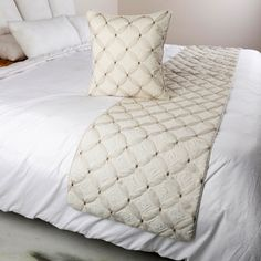 King / Queen / Twin Ivory Bed Runner with Decorative Throw Pillow Cover, Linen Quilted & Embroidery, Modern Contemporary - Tender Love