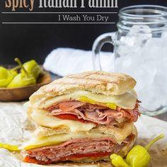 Spicy Italian Panini Italian Panini, Pressed Sandwich, Panini Recipes, Sliced Ham, Indoor Grill, Meat And Cheese, Deli, Spicy, Sandwiches