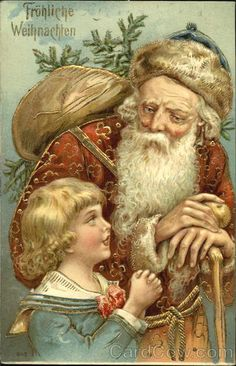 Frohliche Weihnachten Santa with Child