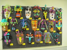 Paper Masks, Grade (Lines, Dots, and Doodles) African Art Projects, 5th Grade Art, Doodles, Art Africain, Art Curriculum, Masks Art, Art Lessons Elementary, Art Classroom, Art Plastique