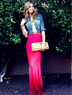 pink maxi dress turned into a maxi skirt. Estilo Fashion, Love Fashion, Womens Fashion, Fashion 2014, Skirt Outfits, Cute Outfits, Pink Maxi, Red Maxi, Pink Dress