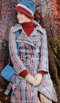 Red white blue wool coat, Brigitte (Germany) July 1971
