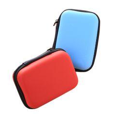3 Colors Mini Zipper Hard Headphone Case,EVA Leather Earphone Bag,Protective Usb Cable Organizer,Portable Earbuds Pouch box
