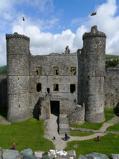 Harlech Castle - Wales.  It's a medieval fortification, constructed atop a spur of rock close to the Irish Sea. It was built by Edward I during his invasion of Wales between 1282 and 1289