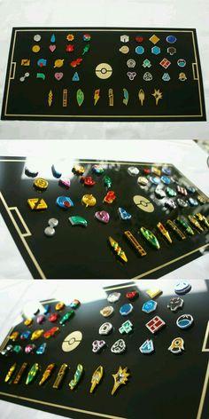 Las medallas de algunos de los gimnasios en pokémon. Dios que increíble .