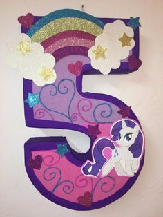 My little pony number 5 Pinata, inspired. my little pony birthday Party. My little pony Party supplies, pony Pinata. Rainbow Pinata rainbow birthday
