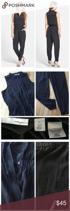 Nordstrom black sleeveless jumper Sz XL A shirt-style bodice with point collar, hidden button placket, and chest pockets. Elasticized waist, front pant pockets with relaxed leg that gathers to elasticized hems. Silky look and feel. Just noticed small mark untreated on front as shown. From Nordstrom. Smoke free. e Halogen Pants Jumpsuits & Rompers