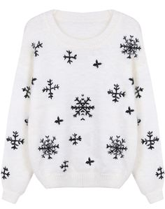 White Long Sleeve Snowflake Pattern Mohair Sweater - Sheinside.com #lulus #holidaywear