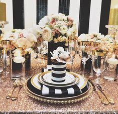Black and cream and gold tabletop decor. Great for weddings and parties.