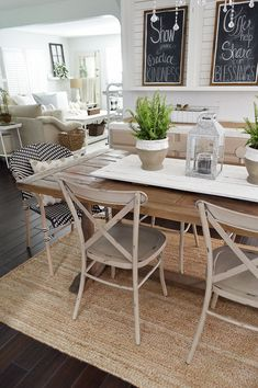 Do you love farmhouse style dining room design? Farmhouse style dining room is one of the popular decoration trends lately. White Dining Chairs, Bistro Chairs, Black Chairs, Dining Room Table Runner Ideas, Chairs For Farmhouse Table, Dining Table Decor Everyday, Farmhouse Dining Room Rug, White Farmhouse Table, Cottage Farmhouse