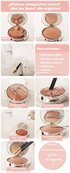 DIY cómo arreglar los polvos compactos rotos :) No los boten, arréglenlos!! Traducción del original de thebeautydepartment.com