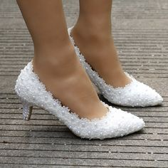 Buy white lace wedding shoes princess shoes pumps high heels thick heel pumps white pumps at Wish - Shopping Made Fun Davids Bridal Shoes, Best Bridal Shoes, Girls Dress Shoes, Girls Heels, Bride Shoes, Prom Shoes, Wedding Pumps, Lace Wedding, Lace Pumps