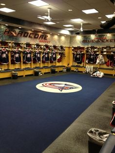 Behind the scenes at the Columbus Blue Jackets locker room. Photo by @BlueJacketsNHL