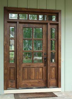 Exterior Front Doors, Front Entry, Farmhouse Front Doors, Farmhouse Interior Doors, Craftsman Front Doors, Black Exterior, Glass Front Door, Sliding Glass Door, Front Door Design Wood