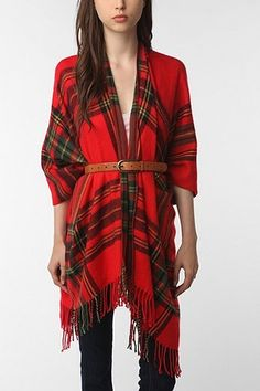 Plaid Ruana with belt accessory