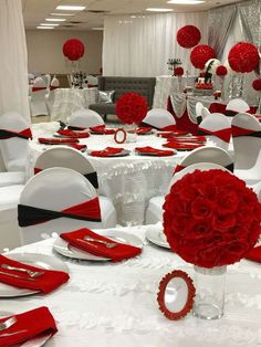 DIY Black and red wedding centerpieces. Quince Decorations, Quinceanera Decorations, Quinceanera Party, Reception Decorations, Event Decor, Red Table Decorations, 40th Wedding Anniversary, Anniversary Parties, 40th Birthday