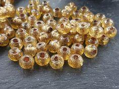 BULK - 50 Caramel Honey Yellow Rustic Glass Bead - Traditional Turkish Artisan Handmade - 8mm